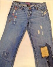 BUBBLEGUM USA jeans, size 9/10, bell,boot, distressed patched embroidered 31x31