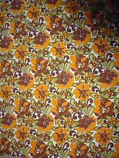 ancien tissu textile coupon imprimé grosse fleur orange marron vintage années 70