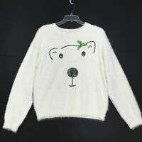 Holiday Time SOFT Fuzzy White Polar Bear Sweater Womens XL 16 18 Christmas