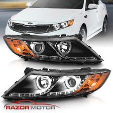 [Led Halo] 2011-2013 Black Projector Led Parking Headlights Pair For Kia Optima (Fits: Kia)