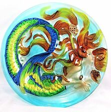 "Mermaid ""sunkissed"" Art Glass Hand Painted 8 "" Plate Home Decor"