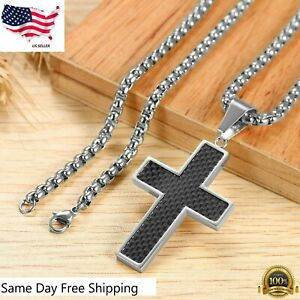 "Black Carbon Fiber Silver Stainless Steel Cross Men's Pendant Necklace 21"" Chain"