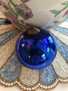 RARE 1880 GENUINE ANTIQUE KUGEL CHRISTMAS BALL ORNAMENT GERMAN COBALT BLUE