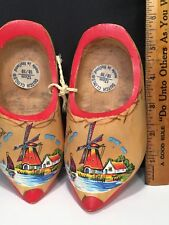 """SOUVENIR WOODEN SHOES Made In Holland 6"""" EUC Painted Pretty"""