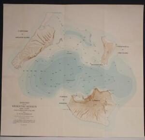 KRAKATOA INDONESIA 1909 VAN BEMMELEN ANTIQUE ORIGINAL COLORED LITHOGRAPHIC MAP