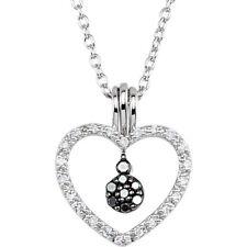 blanco y Negro Corazón de diamante 45.7cm Collar Plata de ley 925 ( 1/6 Ct. TW