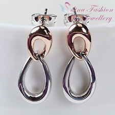 18K White & Rose Gold Plated Double Twisted Teardrop Stylish Stud Earrings