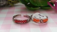 Rings Sterling Silver *Size Adjustable *U080 2 Beautiful Yellow red Wires Toe