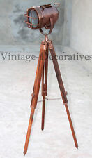 Nautical Copper Floor Lamp With Wooden Tripod Marine Studio Handmade Searchlight