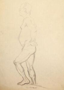 Vintage modernist pencil painting nude man portrait