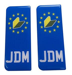 2x JDM EU Gel Domed Number Plate Badges/Decals 107x42mm