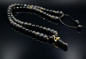 Men's Pendant Necklace Lava Rock Agate Onyx Gemstone Handmade Gift for him