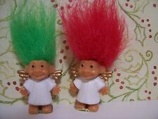 "TWO MINI / MINIATURE CHRISTMAS ANGELS - 1"" Russ Troll Dolls - NEW"