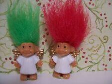 """TWO MINI / MINIATURE CHRISTMAS ANGELS - 1"""" Russ Troll Dolls - NEW"""
