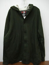 NWOT Big Men's Thermal Lined Button Up Hoodie Jacket Size 3XL Dark Green #25