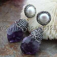 S110612 17x29MM White Pearl Amethyst Rough Earrings