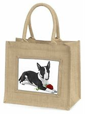 Bull Terrier Dog with Red Rose Large Natural Jute Shopping Bag Chr, AD-BUT2R2BLN