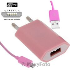 MAXY CARICABATTERIE CARICATORE CASA USB CON CAVO MICROUSB 1A PINK 000329A