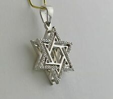 14K White Gold Diamond Star of David Pendant