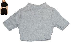 Naked Wardrobe Short Sleeve High Neck Heathered Cropped Top NWT Grey