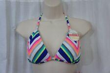 Hula Honey Bikini Top Sz L Blue Multi Reversible Triangle Slide Bra AB158T176