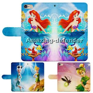 Ariel Little Mermaid Tinkerbell Flip Wallet Phone Case fit for iPhone & Samsung