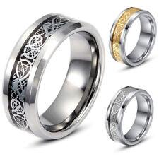 Herren Finger Ringe Celtic Keltisch Drachen Edelstahl Band Ring Partnerringe