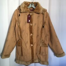 NEW Y&F Womens Hoodie Coat Size M L ? Brown Tan Faux Fur Winter Button Pocket D6