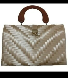 VTG Retro Natural Straw Box Purse Hand Made Handbag Wooden Handle