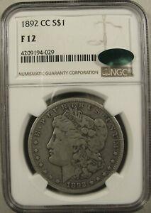 1892-CC Carson City Morgan Silver Dollar NGC F12 CAC Affordable Example Key Date