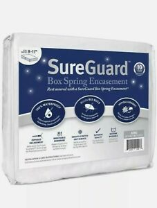 "SureGuard Split King Size Box Spring Encasement 8-11"" Depth 100% Waterproof New"