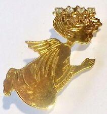 broche bijou vintage ange couleur or et déco cristaux diamant 1913