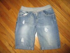 JUSTICE 16R JEANS SHORTS Distressed Contrast Stitch Stretch Waist Band Super Low