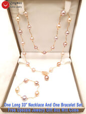 9K Rose Gold Round Purple Edison Pearl Necklace & Bracelet Set for Women-n6952