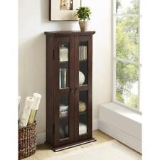 Brown Wood Small Bookshelf Storage Glass Doors Bookcase Cabinet Furniture Home