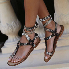 Womens Summer Snake Pattern Buckle Cross Strappy Sandals Casual Flat Roman Shoes