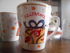 Holiday Gifts Mug 12 oz. Celebrate Christmas Stoneware White Red Yellow Green !