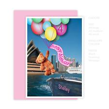 Girl birthday card 1st 2nd 3rd 4th 5th 6th 7th 8th 9th edit name bear
