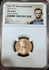 """🌟 MS-70-RD!!!! 🌟 2019-W Lincoln Shield Penny NGC FIRST """"W"""" day of issue"""
