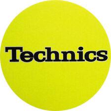 Technics Logo DJ Slipmats (pair, yellow felt with black logo print)