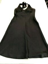 BCBG MaxAzria Dress Black Silky Halter Fit Flare Cocktail Formal Dress Sz 4 . P8