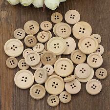 50 pz Misto Bottoni in legno naturali rotondo 4 fori- scrapbooking, da cucire