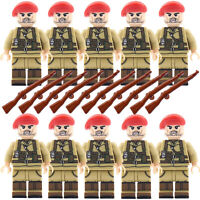 WW2 Army Military Red Beret Soldiers Rifles British Mini Figures Toy Fits lego