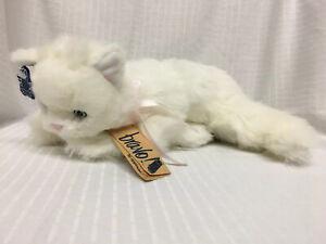 "HTF 1988 Contessa 12"" Plush White Cat w/ Tag Bravo Applause Stuffed Pink Ribbon"