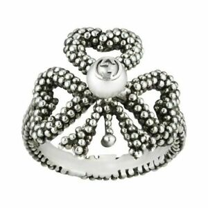 Gucci Women's Sterling Silver Heart Bow & Pearl Ring Size L (12) £205