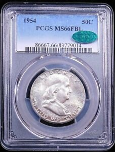 1954 P Franklin Half Dollar PCGS MS66FBL CAC Silver White Full Bell Lines #GE147