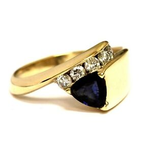 14k yellow gold .30ct SI1 H diamond sapphire gemstone trillion cut ring 5.5g