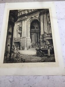 Manchester Royal Exchange Exchange St.C1923 Leonard Brewer Signed Etching Listed