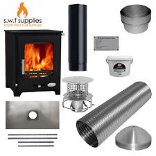 Woolly Mammoth 5kw Woodburner Multi Fuel Stove & Complete 9m Liner Install Kit