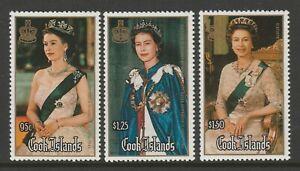 Cook Islands 1986 60th Birthday set SG 1065-1067 Mnh.